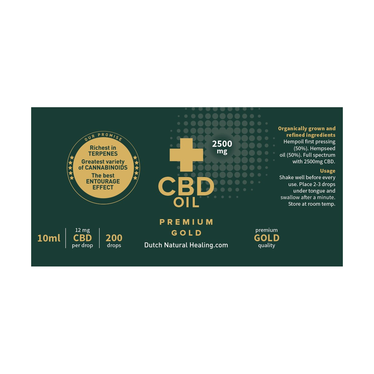 Huile CBD 25% - 10ml Dutch Natural Healing - 1